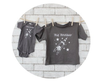 Big Brother Little Brother Rocket Ship Tshirts,  Set Dark Grey, Cotton Big Sister Little Sister Short Sleeve Children's Clothing Outer Space