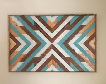 Reclaimed Wood Wall Art - Rustic Geometric - Large Wood Wall Art - Geometric Wood Wall Art - Reclaimed Wood Wall Art