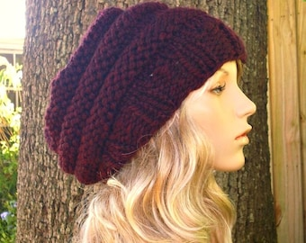 Knit Hat Womens Hat Slouchy Beanie - Oversized Beehive Beret Hat Oxblood Wine Red Knit Hat - Red Hat Red Beret Red Beanie Womens Accessories