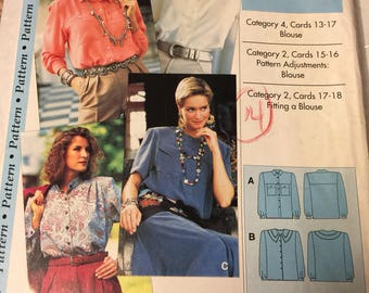 Blouse, long or short sleeve, sewing pattern,  Size 4-22