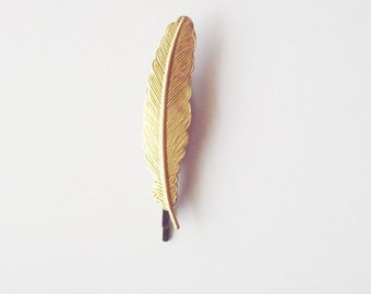 Feather Bobby Pin Gold Bridal Hair Clip Vintage Style Rustic Belle Beauty And The Beast Wedding Emma Watson Accessories Womens Gift For Her