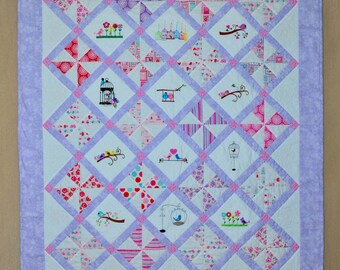 Handmade Baby Quilt - Embroidered - Birds - A Little Birdie Told Me Baby Quilt