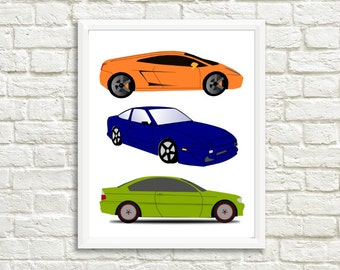 Race Car Boys Room Print Poster