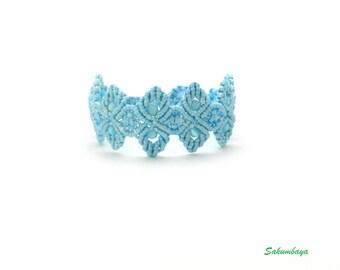 Bracelet, macrame, blue, pastel, blue beads