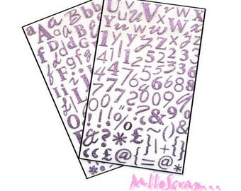 170 letters light purple adhesive stickers Dovecraft scrapbooking (ref.110) *.
