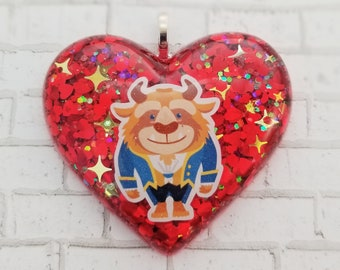 The Beast Resin Charm Pendant Necklace Beauty and The Beast