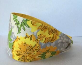 Flower Headband, Girls Headband, Marigold Hair band, Floral Headband, Adult Headband, Wide Fabric Headband, Womens Headband, Hairband