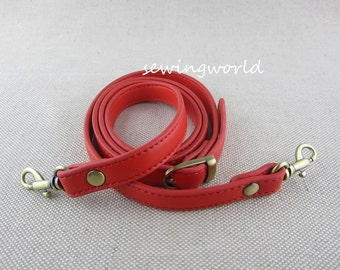 46 inch Adjustable Synthetic Leather Purse Strap in Red