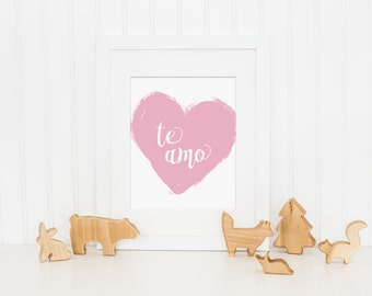Te Amo Art Print, I Love You Wall Art, Spanish Nursery Art Print, Girls Bedroom Art, Girls Nursery Printable, Pink Nursery Decor