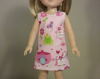 14.5 inch Doll Clothes Pink Princess Carriage Print Dress fits American Girl Wellie Wishers Doll Clothes Handmade