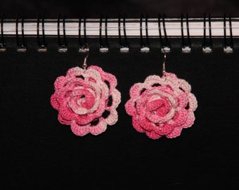 20% OFF Sale--Pink and White Rose Crochet Earrings