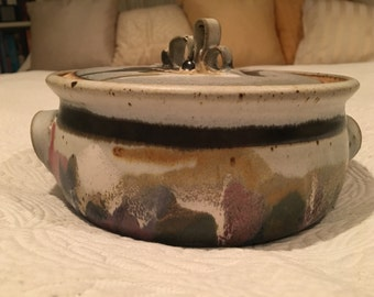 Handmade ceramic covered casserole