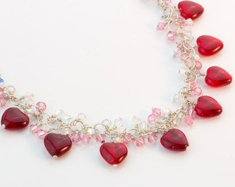 15% OFF Valentine's Day Necklace Lots of red heart beads and Swarovski crystals necklace; Silver Color Chain; Red Heart Beads Necklace
