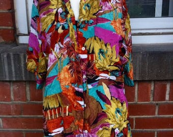 floral silk blouse womens large