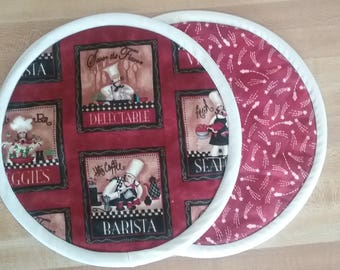 Savor the Flavor Chef Potholders, Pot Holders, Hot Pads, Mats, 8 inch round