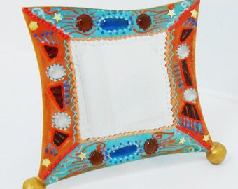 Vanity mirror ' Tangerine icy Mint ' 28 x 23 cm for the bedroom, living room bathroom, it will bring a note
