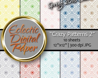 Digital Paper Crazy Pattern 2, Eye Popping Digital Paper Pattern, Colorful Digital Paper Pack - - Personal & Commercial Use INSTANT DOWNLOAD