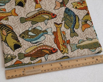 1/2 Yard Novelty Cotton Fabric Funky Fish