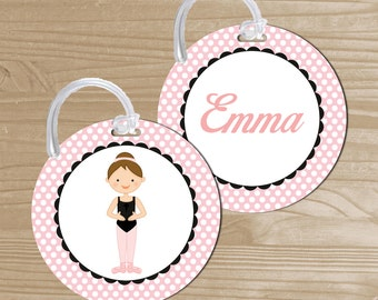 Personalized Bag Tag - Ballerina Backpack Name Tag - Ballet Dance Bag Tag - Ballet Bag Name Tag - Round Bag Tag - Kids' Luggage Tag