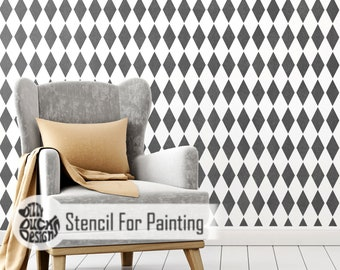 HARLEQUIN STENCIL - French Diamond Wall Furniture Floor Craft Stencil for Painting - HARL01