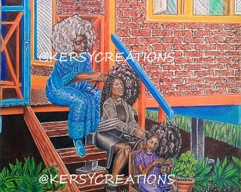 family, black family, black women, Afro, black art, poster, African art, wall art, sale, prints, acrylic, oil painting, decorations, frame,