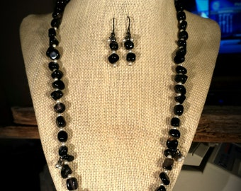 Beautifully Polished Black Agate Nuggets, Cream Swarovski Crystal Pearls,  Crystal Pearl Clusters on 20 Inch Necklace with Earrings