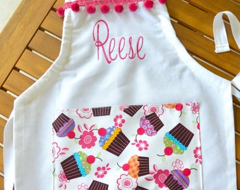 Girls apron personalized with cupcakes print includes name!