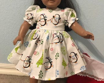 Sparkling White Christmas Penguins Dress for American Girl or Other 18 inch Doll