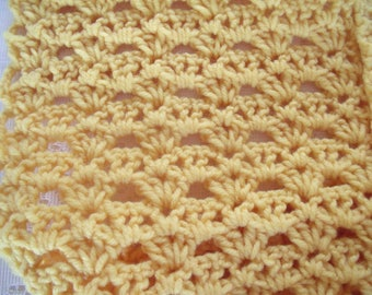 Yellow Infinity scarf  hand-crochet