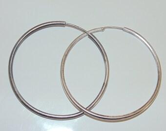 """SE514+ Vintage Estate Sterling Silver Large Endless Tube Hoops Hoop Earrings 4 grams 925 Jewelry Jewellery For Her 1.75"""" Wide"""