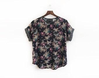 Black Floral Top, Short Sleeve Blouse, Elegant Top, Batwing Blouse, Unique Bohemian Blouse, Spring Tops, Bohemian Style, Sizes: XS/S/M/L
