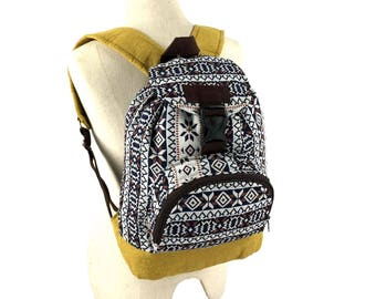 Cute Yellow Backpack, Tribal Aztec backpack, Teen school backpack, Boho Hippie Ikat folk backpack, Kids Drawstring backpack, Small size