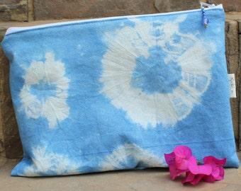 Shibori Dyed Pouch , Cosmetic bag ,  Make-up bag , Zipper pouch , Travel bag , Pencil case  , Handmade linen clutch , Rickilu bag .