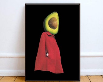 "Minimalist art, avocado print, paper collage art, surreal art, avocado poster, dada art, mixed media collage art, wall art - ""Rootless 2""."