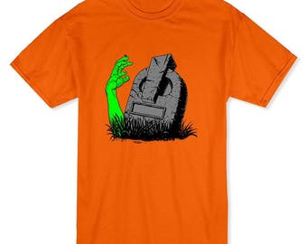 Halloween Zombie Hand Rising From The Grave Men's Safety Orange T-shirt