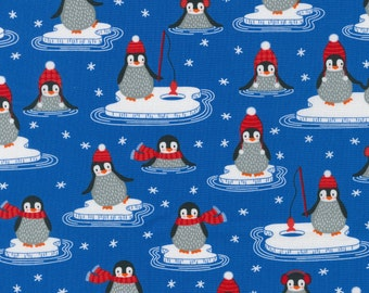 Polar Pals by Robert Kaufman - Royal Penguins - Cotton Woven Fabric