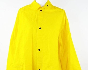 30% SPRING SALE Vintage 1990s 90s Bright Yellow Black Peter Pan Collar Oversized Plastic Rain Button Down Jacket Coat Sz XL Plus Size