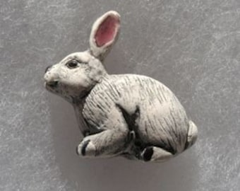 White Rabbit Peruvian Ceramic Bead (1)