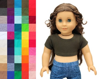 Fits like American Girl Doll Clothes - Short Sleeve Cropped Top, You Choose Color | 18 Inch Doll Clothes