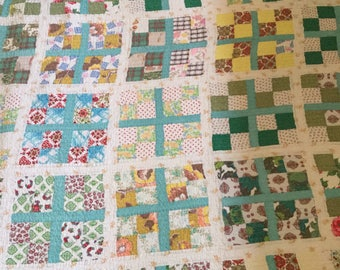 Vintage Four Patch Seafoam Green and Blues Quilt 64 x 73 Machine Stitched