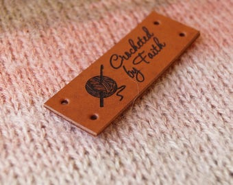 Leather tags, personalized leather labels, custom clothing labels, knitting tags, crochet labels, 25 pc