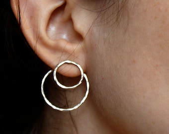 Double Sided Sterling Silver Optical Illusion Hoops