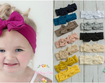 CLEARANCE SALE Baby Headbands, Girls Head wraps, Messy Bow Baby Head wraps, Jersey Knit Headwraps, Big Bow Baby Headbands, Knott Headband