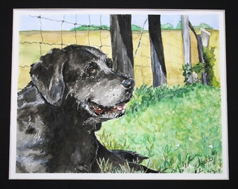 Custom Watercolor Dog Portrait - 5 x 7