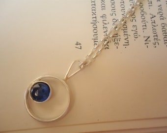 Circle Spinel Necklace - Handmade - Sterling Silver Pendant -Blue Gemstone- 5mm Stone Diameter