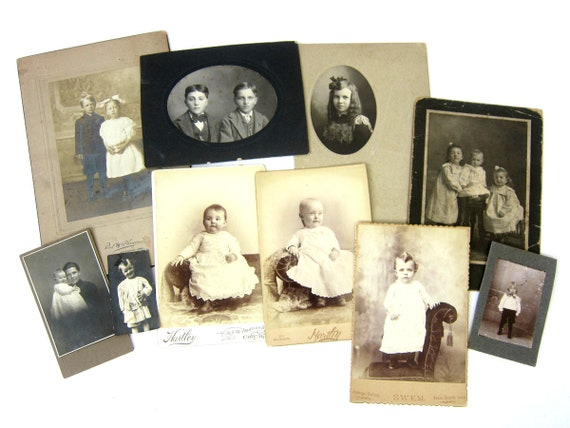 Antique Photographs Cabinet Cards Black and White Photos Vintage Young Children and Infant Pictures Instant Collection Set