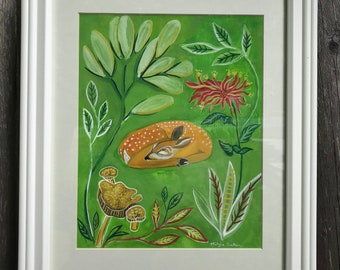 Sleepy Deer - Limited edition giclée print of original gouache painting. Perfect for a nursery or baby shower gift.