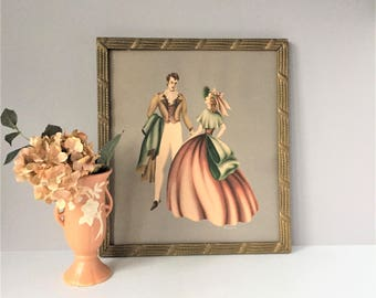 Vintage Framed Print by Turner, 1940s Courting Couple, Victorian Style Fashion, Air Brush Watercolor Technique Textured Paper, Period Frame