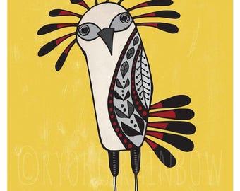 Secretary bird print, Unique Whimsical Fun bird wall art, Bird watcher lover gift, Folk art bird