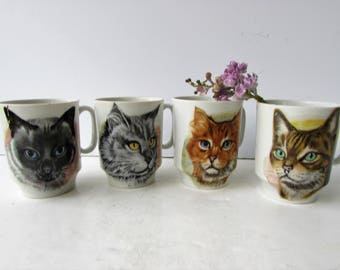 Set of 4 Vintage Cat Coffee Mugs- Stacking Mugs - Cats - Made in Japan - Tabby Cat - Maine Coon Cat - Persian Cat - Kitties -